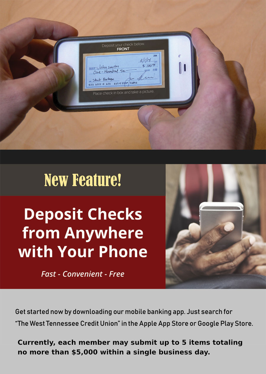 New Feature! Deposit checks from anywhere with your phone.